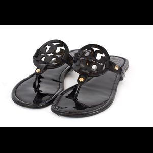 Tory Burch Miller sandals black patent leather 9.5